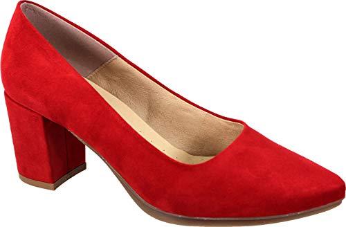 WUAPAS 4703 - Zapato Mujer Salón Stiletto Tacón Ancho 6 cm. (39 EU, Rosa)