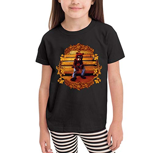 PETEWILL Kanye West College Dropout Bear Kids' Cotton T-Shirt Funny Crewneck Tee 2T Black