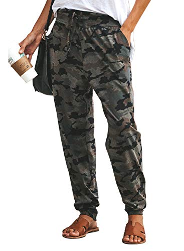 Eytino Women Camouflage Joggers Pants Casual Drawstring Pockets Hip Hop Rock Trousers,X-Large Gray