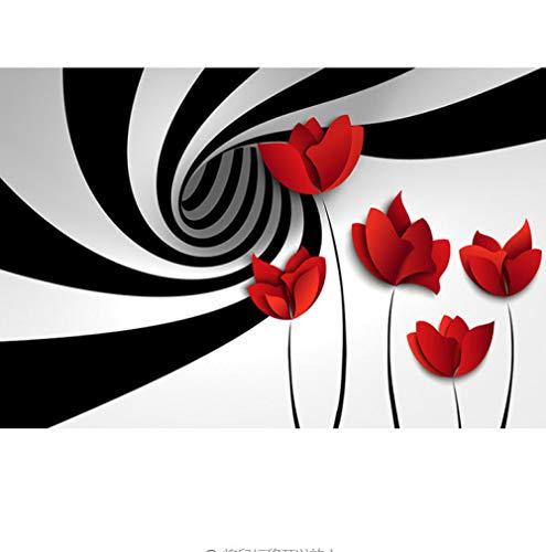 Bilder Leinwand Wandbild Wohnzimmer,Whirlpool Rose Landschaft- Wandbilder 3D Natürliche Landschaft Modern Büro Kino Hotel Korridor Wandgemälde Für Schlafzimmer Wandtapete Fototapete 300X210CM