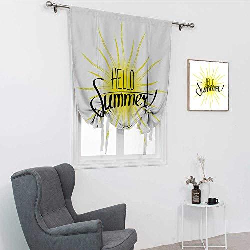 GugeABC Hola Summer - Cortinas decorativas para ventana, dibujo lineal del sol, con rayos extensibles y composición caligráfica, cortinas para ventanas, color amarillo tierra, 106,7 x 183 cm