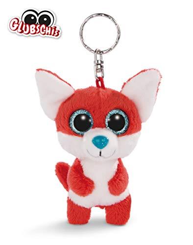 NICI 45545 Glubschis Schlüsselanhänger Fuchs Jayson 9cm, große Glitzeraugen, Plüschtier mit Schlüsselring, rot/weiß