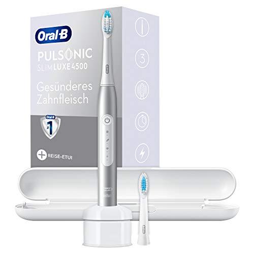 Oral-B Pulsonic Slim Luxe 4500 Elektrische Schallzahnbürste für gesünderes Zahnfleisch in 4 Wochen, 3 Putzmodi inkl. Sensitiv & Aufhellen, Timer, 2 Aufsteckbürsten & Reiseetui, platin