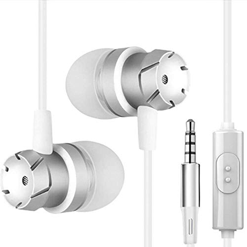 Headphones with Microphone, Ear Buds in Ear Wired Metal Earphones Mic Compatible with Mp3 Players Tablet Laptop and Other Cellphones 3.5mm - White
