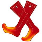 Daintymuse Battery Heated Socks Electric Rechargeable Heating Socks Kit for Chronically Cold Feet,Winter Cotton Thermal Insulated Socks,Women Men Original Warm Socks Hunting Skiing Cycling (Red, M)