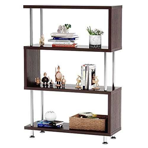 Industrial Bookshelf Book Storage 4 Tier Bookcase Display and Storage Modern Display Cabinet Bookshelf Living Room Home Office Corner by Bestier