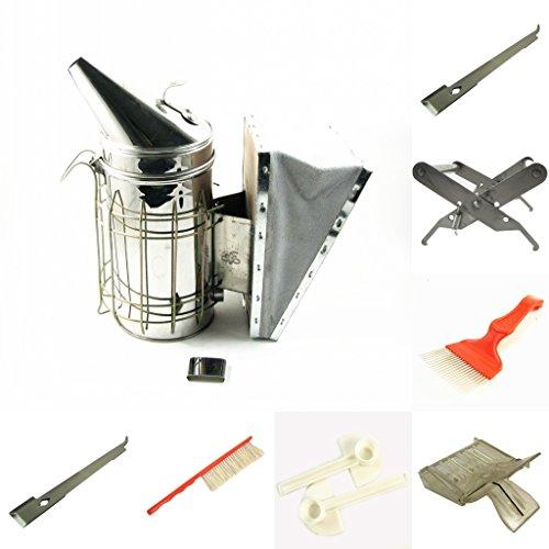 Herramientas de la colmena de la jaula de la bifurcación del colector del cepillo de la abeja de la herramienta del equipo de la apicultura del kit 7Pcs Herramientas