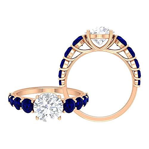 Anillo de compromiso solitario de 3,25 quilates con piedras laterales de moissanita y zafiro azul (8 mm, redondo brillante moissanita), oro rosa de 14 quilates, tamaño: UK U1/2