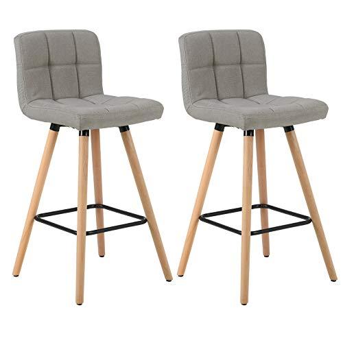 WOLTU Barhocker BH160hgr-2 2er Set Barstuhl Bistrohocker Tresenhocker mit Lehne und Fußstütze Design Stuhl Massivholz Leinen Hellgrau