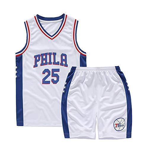Completo da Bambino per Abbigliamento da Basket, Durant Curry Jordan Irving James Harden Thompson Maglia da Basket Americana Miami New York Chicago, Completo sportivo-16-XS