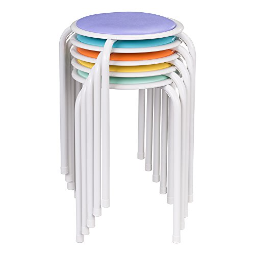 Taburetes de metal apilables en distintos colores con asiento acolchado de Fat Catalog, ALT-1100-SO (conjunto de 5)
