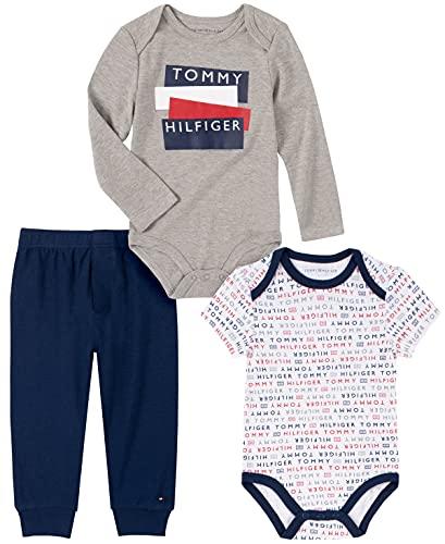 Tommy Hilfiger Baby Boys' 3 Pieces Bodysuit Pants Set, Heather Mist/Bright White/Medieval Blue, 18M