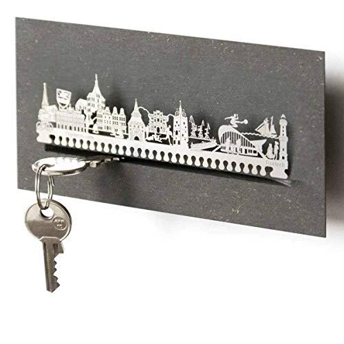 13gramm Rostock-Skyline Schlüsselbrett Souvenir in der Geschenk-Box