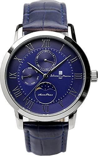 [サルバトーレマーラ] 腕時計 ムーンフェイズ マルチカレンダー 5気圧防水 ビジネス フォーマル メンズ 革ベルト 限定モデル シルバー ブルー SM21106-SSBL