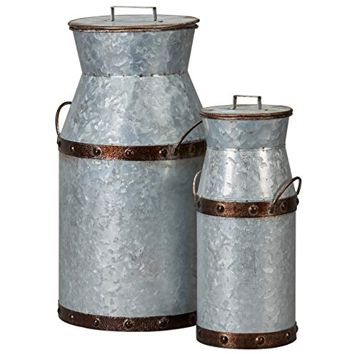 Barnyard Designs Rustic Galvanized Milk Can Jug Nested Milk Cans Vintage Primitive Country Farmhouse Home Decor Large 8 5 X 7 5 X 14 5 Small 5 X 4 5 X 11 Set Of 2 Buy Online In Bulgaria At Desertcart Productid 164814960