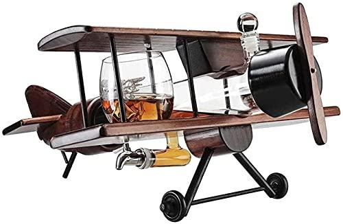 Decantador De Whisky, Juego De Avión De Vasos De Whisky Y Avión De Madera Antiguo, Juego De Regalo De Whisky Y 2 Tazas De Mapa del Mundo