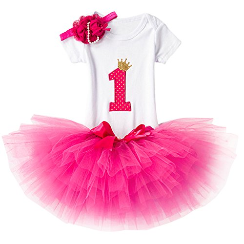 IWEMEK Bebé 1er / 2 ° Cumpleaños Unicornio Niñas Princesa Trajes de Fiesta 3pcs Conjunto de Mameluco + Tutú Falda + Bowknot/Unicornio Diadema Carnaval 3pcs Set Disfraz