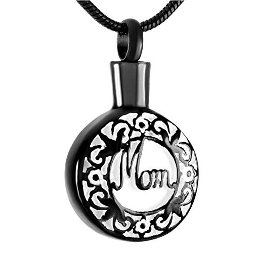Mom Memorial Stainless Steel Necklace Cremation Keepsake Urns Jewelry Pendants for Ashes Assorted Color