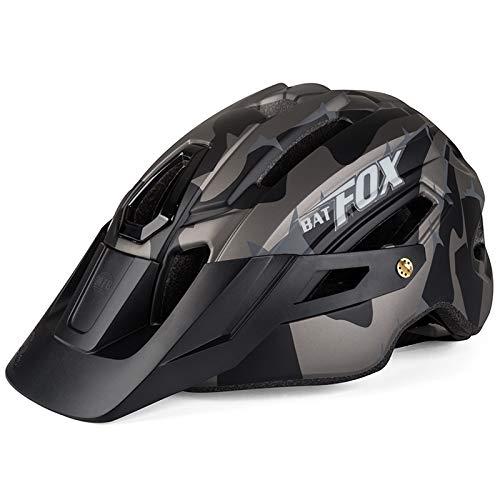 PTSOC Adult Mountain MTB Lightweight Bike Helmet with Adjustable Regulator Tail Light Gray