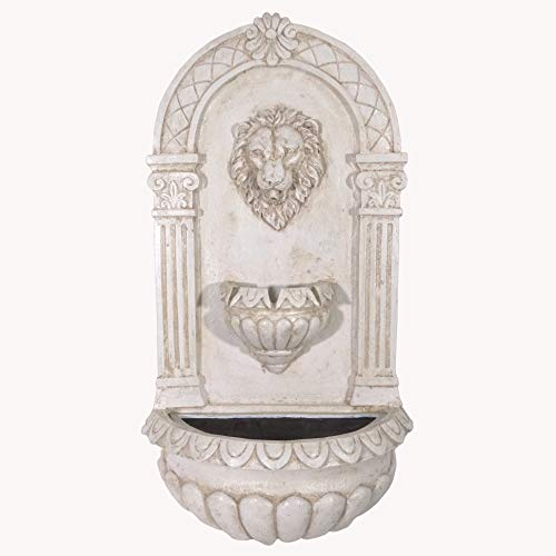 Alpine Corporation TZL160 Lion Head Wall Fountain w/LED Lights, 32 Inch Tall, White
