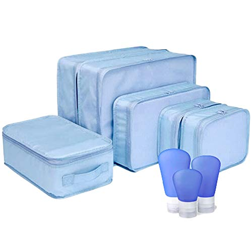 Packing Cubes 6 Piece Set JB Luggage Organizers with Shoe Bag Includes 3 Travel Bottles Lightweight Washable Pods Great Accessory for Suitcase Luggage Carryon amp Backpack Blue