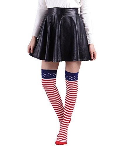 HDE Women USA Striped Socks Over the Knee High American Flag Novelty Hosiery (Seal Team Socks)
