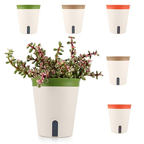T4U 16.5CM d'arrosage Automatique Pots de Fleurs, Plantes en Plastique PP avec Niveau d'eau Visuel - Lot de 6, Pot pour Aloès, Herbes Succulentes, Home Decor Pots de Fleurs - Vert, Marron, Orange