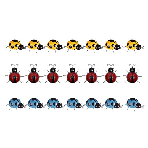 prasku 21 Pieces Handcrafted Metal Ladybird Wall Gardens Insects Art Ornaments 10cm