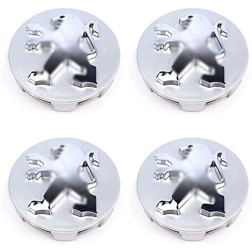 Para Peugeot 106 107 206 207 306 307 506 507 108 208 308 508 60mm, 4 Piezas Coche Tapas centrales Aleación Tapacubos con Emblema De Insignia Embellecedor Central De Llanta De Rueda Cubre Accesorios