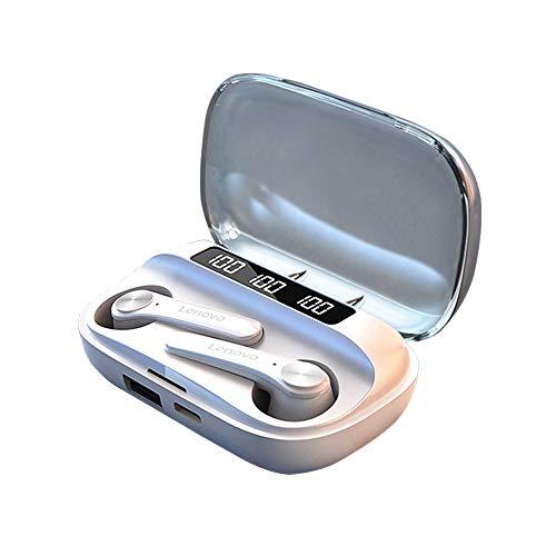 Funien TWS Auriculares inalámbricos BT Semi-in-Ear Auriculares Deportivos Auriculares Impermeables a Prueba de Sudor con Pantalla Digital Blanco