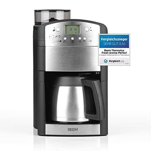 BEEM Fresh-Aroma-Perfect Thermolux | Kaffeemaschine mit Mahlwerk für Kaffeebohnen und Filterkaffee| 1,25 l Isolierkanne für 2-10 Tassen | inkl. Permanentfilter und Timer [1000 Watt / silber]