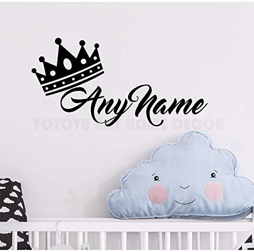 Personalisierte Name Prinzessin Crown Wandaufkleber Customade Prince Name Schlafzimmer Wandtattoo Kunst Kinderzimmer Wanddekor Wandbild57x28 cm