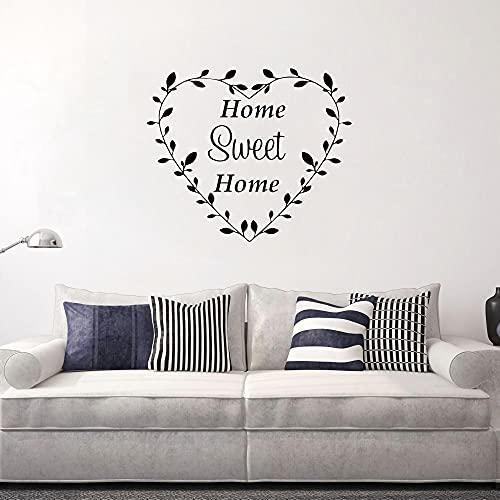 Home Sweet Home Family Pegatinas de pared con citas en corazón de vinilo para decoración del hogar Decoración de pared pegatinas para dormitorio, sala de estar sofá telón de fondo