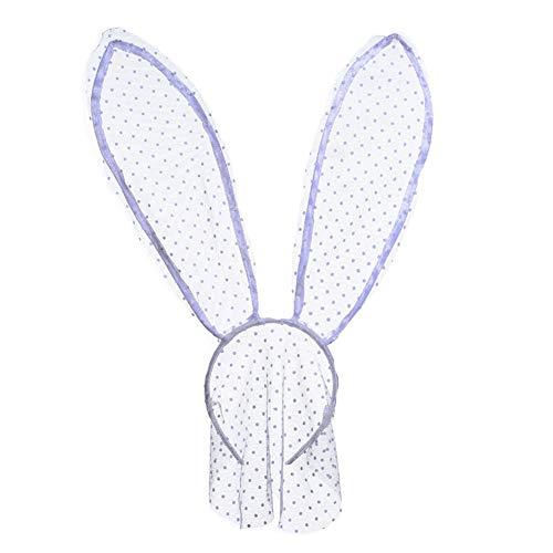 YAZILIND negro polka dot diadema conejo oído rendimiento accesorios para el cabello discoteca sexy bola máscara diadema accesorios blanco