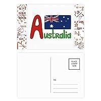オーストラリアの国旗の赤と青のパターン 公式ポストカードセットサンクスカード郵送側20個