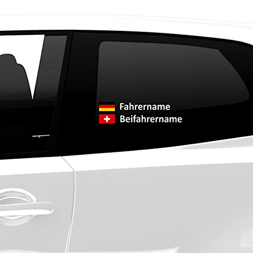 malango Fahrername und Beifahrername mit Länderflagge Flagge ALLE LÄNDERFLAGGEN ERHÄLTLICH - Wunschname Flaggenaufkleber Autoaufkleber Wunschnamen Wunschflagge