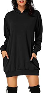 SUNNYME Femme Sweat-Shirts Robe /à Capuche Manches Longues Casual Mini Tunique Pull