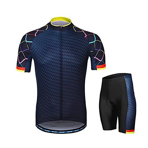 FUSHUO Kit de Ropa para Bicicleta Conjunto de Camiseta y pantalón Corto de Bicicleta para Hombre Trajes de Manga Corta con Gel 3D Paded