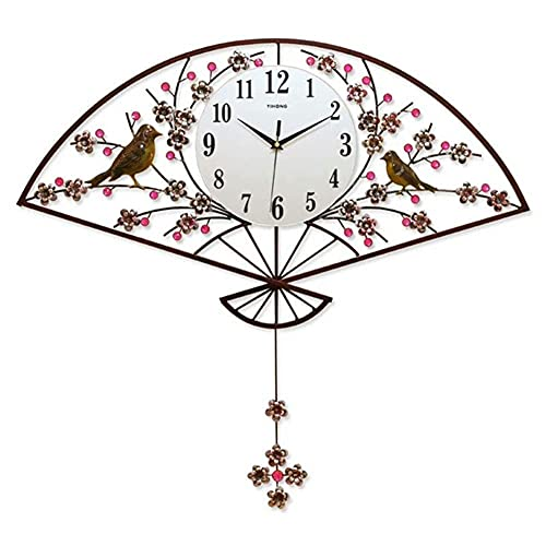 Reloj de Pared Retro, Ventilador de Metal Hierro Forjado Placa de Aluminio Decoración de Diamantes Intermitentes Reloj de Cuarzo Silencioso Reloj de Pared