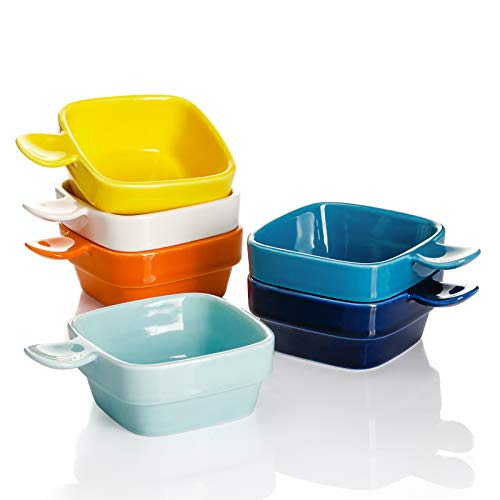 Sweese 116.002 Porcelain Square Dipping Bowls Sauce Dishes - 3 Ounce for Soy Sauce, Ketchup and Seasoning - Set of 6, Hot Assorted Colors