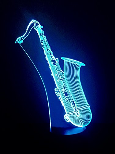 3D LED Night Light - Saxophone Light - 3D LED Lamp - 7 Changing Colors Saxophone Lamp - Home Office Desk Lamp - 3D LED Music Light - Desk Light - Wedding Christmas Party Decoration Centerpieces