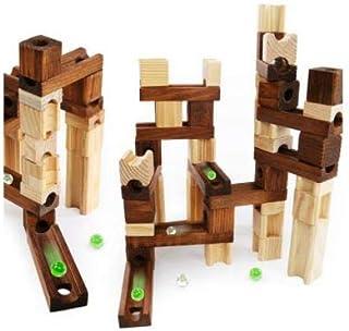 Ms.0 木製ブロック 60pcs 日本製ビー玉5個 スロープ ビー玉転がし パズル