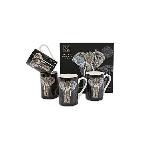 Bug Art Lot de 4 tasses en porcelaine fine Motif éléphant