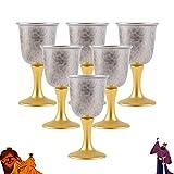Bicchiere Da Vino Di Lusso Leggero, Set Da Vino in Argento Sterling 999, Bicchiere Da Vino Bianco in Stile Cinese Domestico, Bicchiere Da Vino Piccolo Staccabile Dorato Alto Fatto A Mano, 6 Pezzi