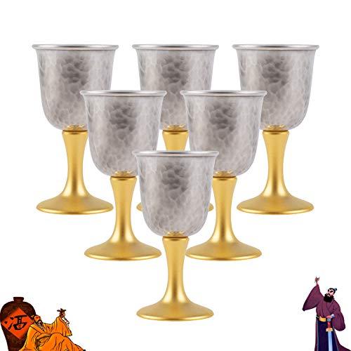 Copa De Vino De Lujo Ligero, Juego De Vino De Plata De Ley 999, Copa De Vino Blanco De Estilo Chino Nacional, Copa De Vino Pequeña Desmontable Dorada Alta Hecha A Mano, 6 Piezas