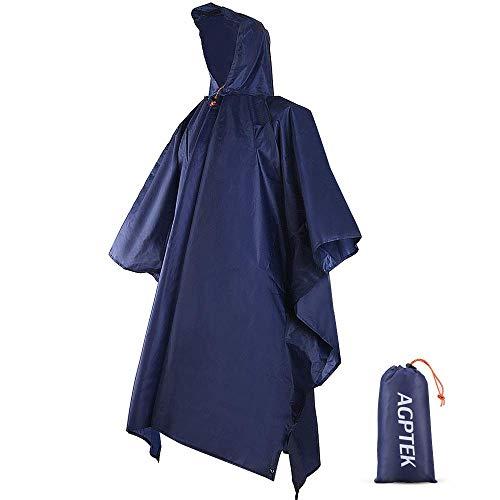 AGPTEK Poncho de Lluvia, 3 En 1 Chubasquero Impermeable Reusable Multifuncional como Manta de Picnic, Toldo para Senderismo, Acampada y Pesca, Adecuado Mujer y Hombre,Azul
