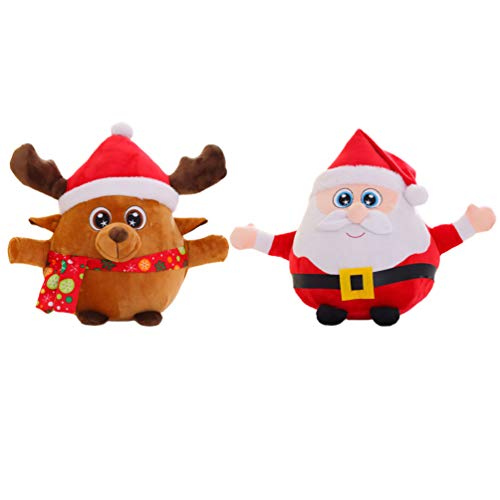 LUOEM 2 Unids Navidad Muñecos de Peluche Eléctricos Reno Musical Figura Cantando Santa Claus Vacaciones Musical Muñeca Juguete Navidad Mesa Estatuilla