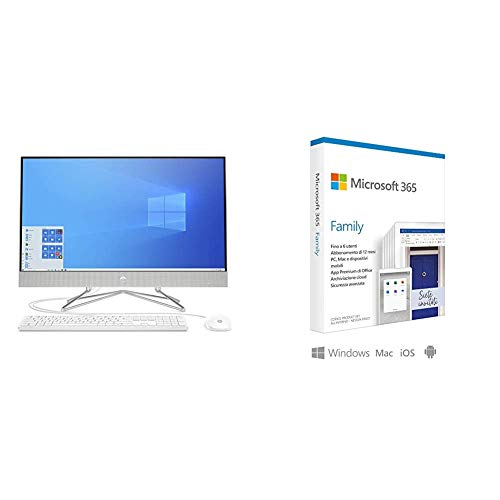 HP - PC 27-dp0010nl All-In-One, Intel Core i3-1005G1, RAM 8 GB, SSD 256 GB, Grafica I + Microsoft 365 Family | 6 Persone | Box