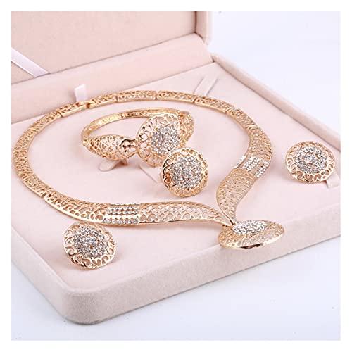 DSJTCH Conjuntos de Joyas de Oro de la Boda para Las Mujeres Colgante Declaración Cuentas africanas Collar de Cristal Pendientes Pulsera Anillos (Metal Color : F860)