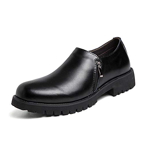CAIFENG Zapatos de trabajo clásicos para hombres de cuero genuino vestido de boda mocasines cremallera antideslizante tacón bajo sin cordones punta redonda (color negro, talla: 38 EU)